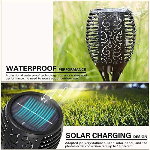 Mengjay Solar Flammenlicht, Solarleuchte Garten IP65 wasserdicht Solarlampe Gartenfackeln mit realistischen Flammen Automatische EIN/Aus Außen warmlicht,8 Stück