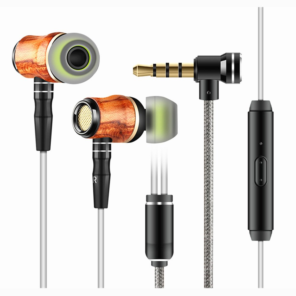 Wood Headphones Earbuds,Yinyoo X10 Noise Cancelling Headphones Wood Wired Heavy Stereo Extra Bass Wood Ear Headset Earphones with Microphone Dynamic for Android Phone Tablet MP3 Player Laptop(x10)