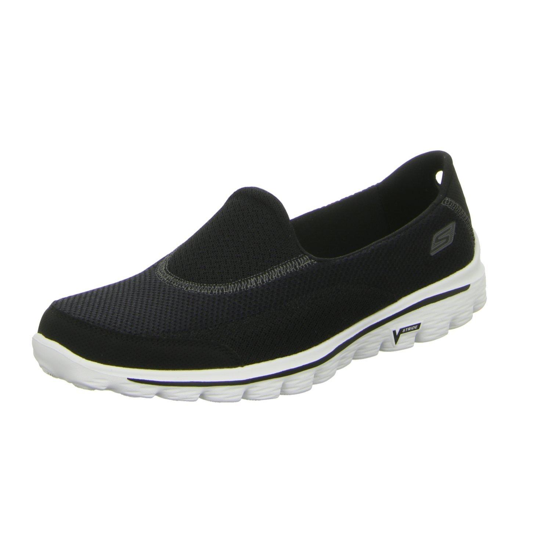 Skechers Damen Go Walk 2 Linear Sneakers  36 EU|Schwarz (Black/White)