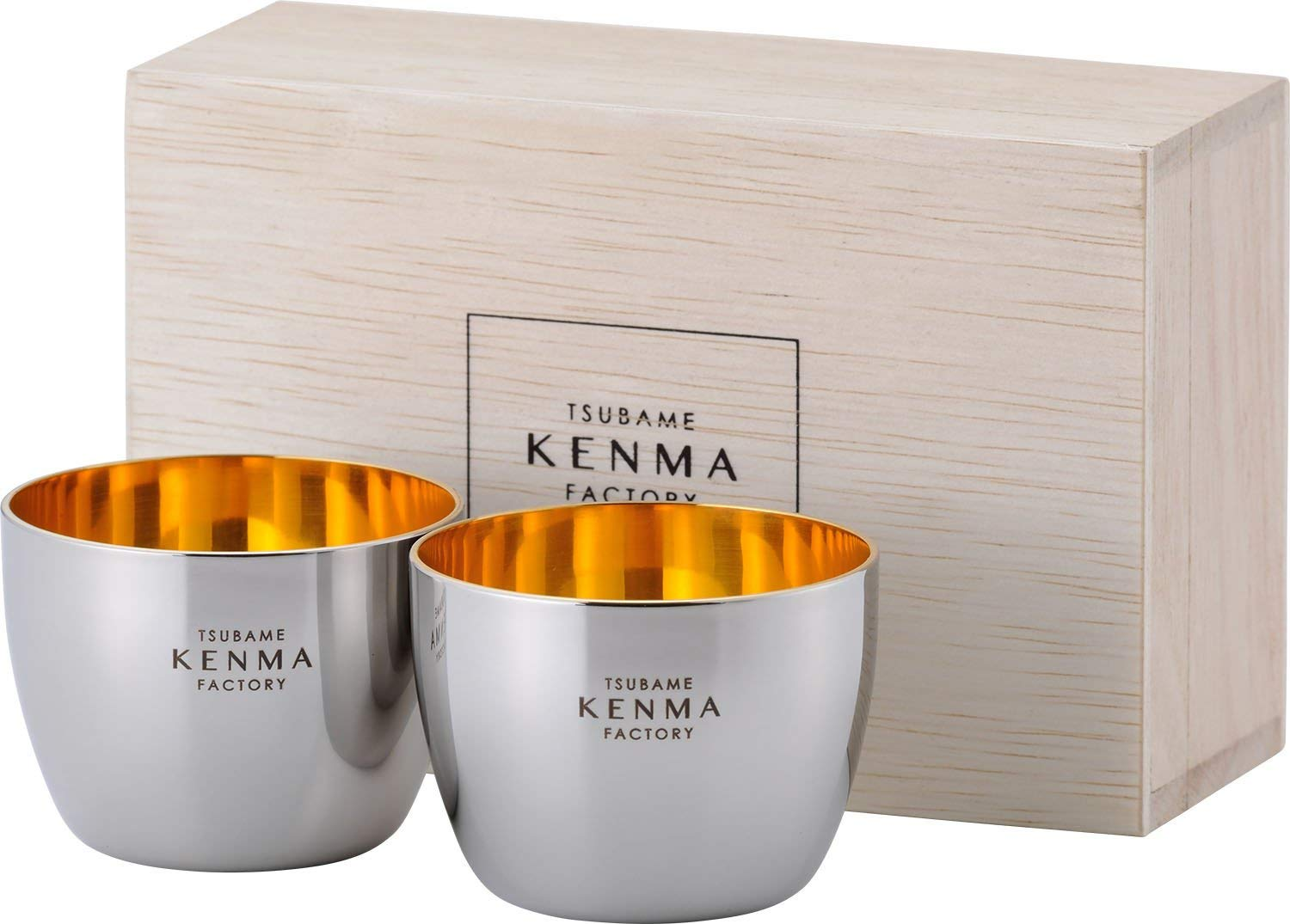 Wahei Freiz Japanese Stainless Sake Set (2 Piece 100ml) with Wooden Case Tsubasa Kenma Factory TM-9858