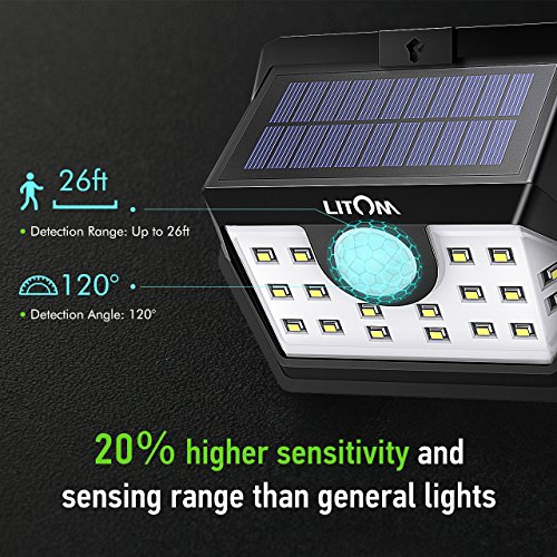 LITOM Classic Solar Lights Outdoor, 20 LED Wireless Motion Sensor Lights(White Light), 270°Wide Angle, IP65 Waterproof, Easy-to-install Security Lights for Front Door, Yard, Garage, Deck, Porch-4 Pack by Litom (Image #6)