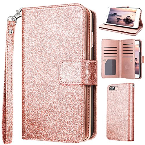 iPhone 8 Case Wallet,iPhone 7 Case,Fingic Cover with Card Holder Luxury Shiny Bling Flip Folio[Card Slots][Cash Holder][Wrist Strap]Magnetic Snap Closure Protective Case for iPhone 7/8,Rose (Hold Rose)