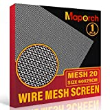 "304 Stainless Steel Mesh Screen 20 Mesh Wire 11.4""X 23.6"" (29cm X 60cm) Woven Vent Mesh, Metal Wire Mesh for Air Ventilation, Door, Shower Drain and Cabinet"