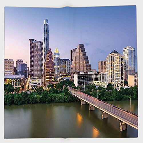 iPrint Polyester Bandana Headband Scarves Headwrap,Modern,Austin Texas American City Bridge Over The Lake Skyscrapers USA Downtown Picture,Multicolor,for Women Men (Bedskirt Austin)