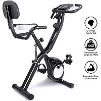EVOLAND Bicicleta Estática Plegable, Bicicleta Estática de Fitness Multinivel de Resistencia Magnética con Monitor Rítmo Cardíaco para Ejercicio Entrenamiento en Casa, MAX hasta 200 kg