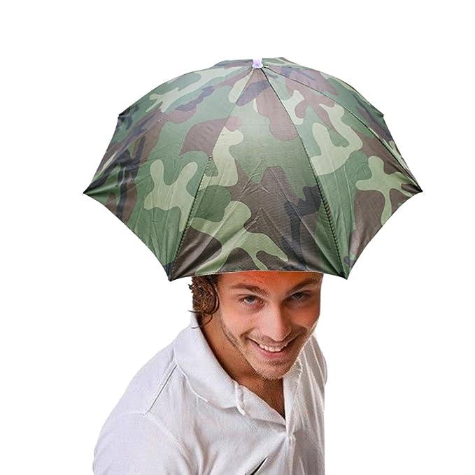 76de35afd04 Amazon.com  QingFan Umbrella Hat Cap Multicolor Hands Free With Head ...