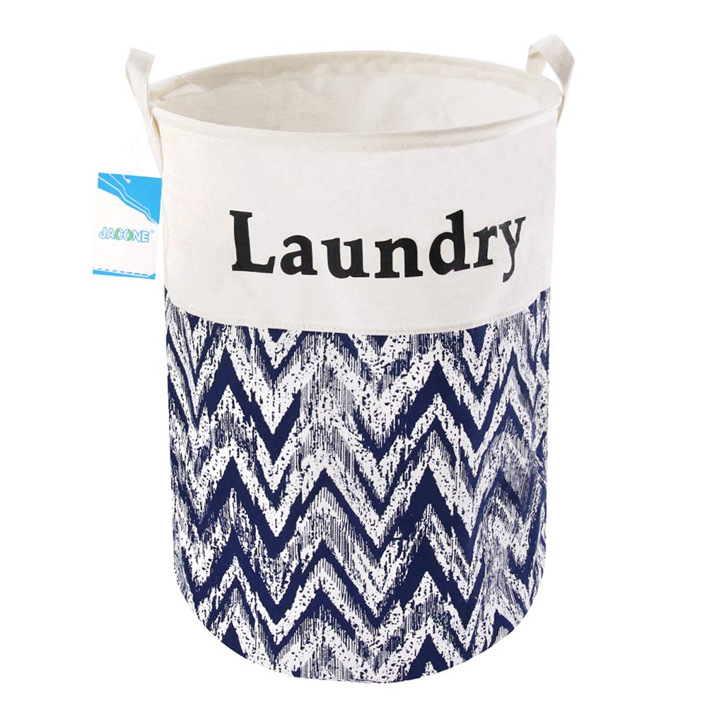 Jacone 19.7/'/' Large Laundry Basket Foldable Cylindric Waterproof Canvas Fabric Laundry Hamper Storage Basket with Handles Decorative and Convenient for Kids Bedroom B+