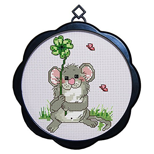 DIY Home Decor Needlepoints Kit Stamped Cross Stitch Kits 11 Count Cross-Stitching Printed Patterns for All Ages Adults Kids Beginner and Advanced, Little Mouse with Frame
