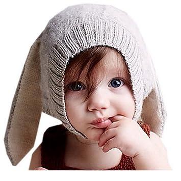 37ea95fb55c Frbelle® Cagoule Coton Bébé Enfant Fille Garçon Chapeau Hiver Crochet  Déguisement Lapin Photographie 6 mois