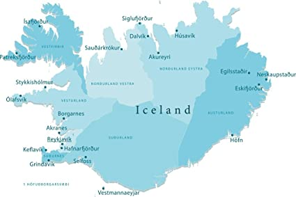 Amazon.com: Iceland Vector Map Regions Isolated Art Print Poster ...