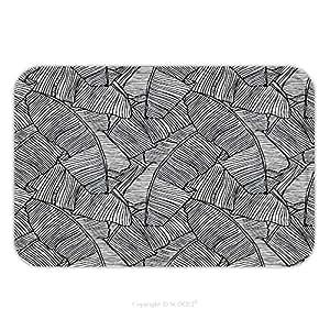 Franela de microfibra antideslizante suela de goma suave absorbente Felpudo alfombra alfombra alfombra Vector ilustración hojas de palmera. Seamless Patrón para interior/exterior/cuarto de baño/cocina/Estaciones de trabajo