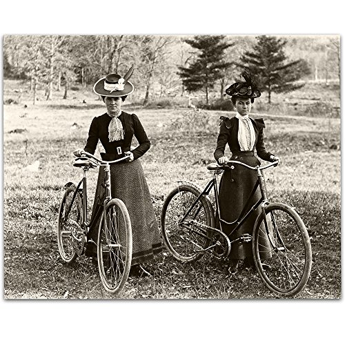Lone Star Art Bicycle Riders Victorian Women 1890s Vintage Photo - 11x14 Unframed Print - Perfect Home Decor or Gift for Female Bicyclists