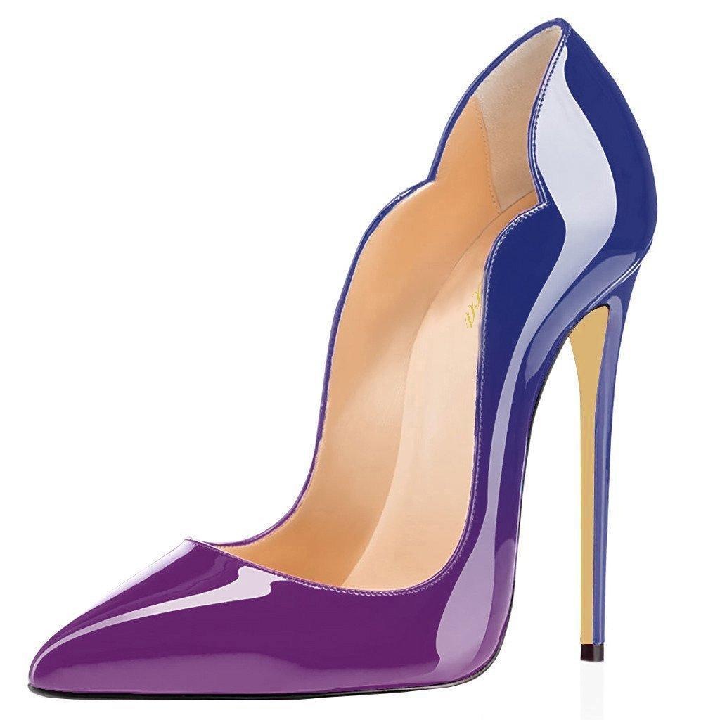 Lutalica - Zapatos de Vestir de Charol para Mujer 12 B(M) US|Azul-púrpura