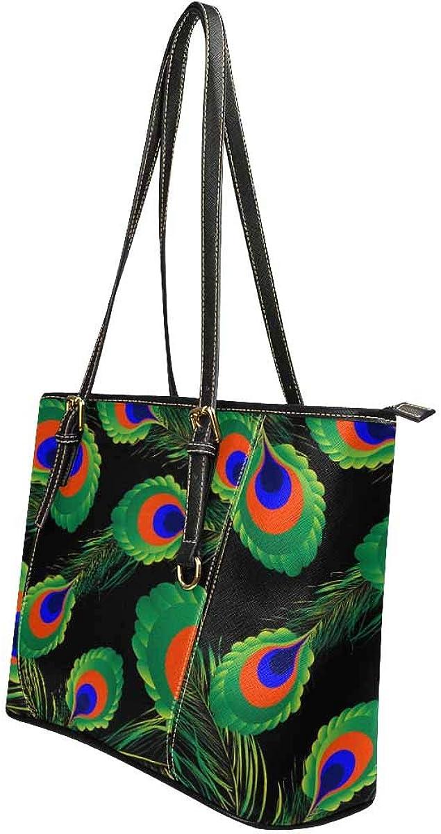 INTERESTPRINT Green Blue Peacock Shoulder Bags Satchel Messenger Tote Bag