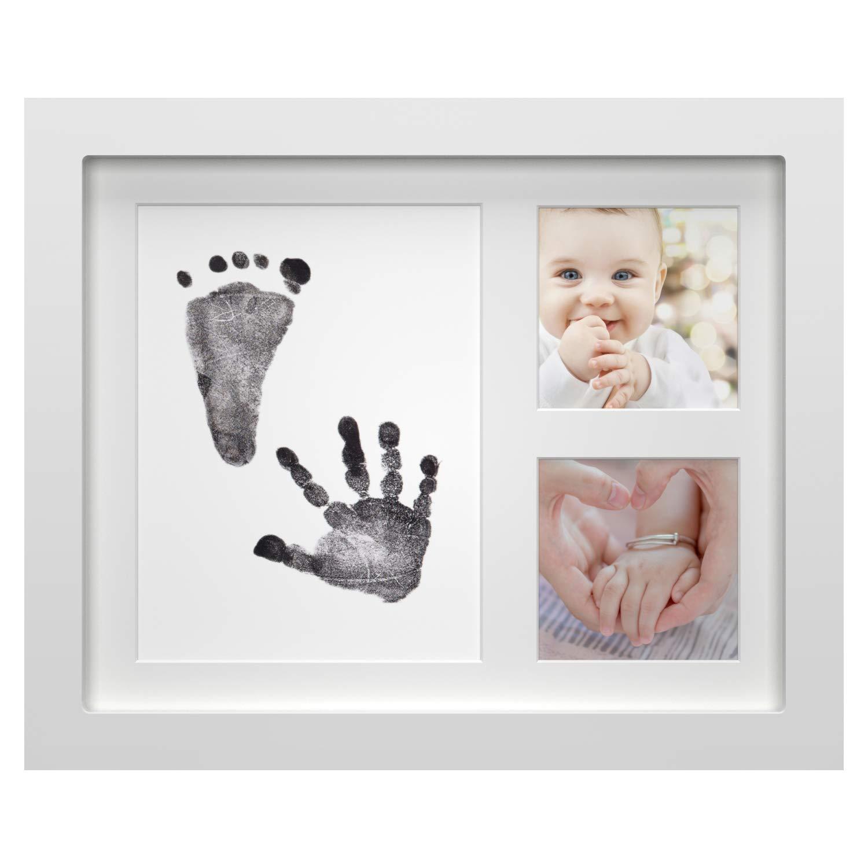 Huella de Mano Onewall Marco de Fotos para beb/é reci/én Nacido con Almohadilla de Tinta de Tacto Seguro para Regalos Personalizados para beb/és