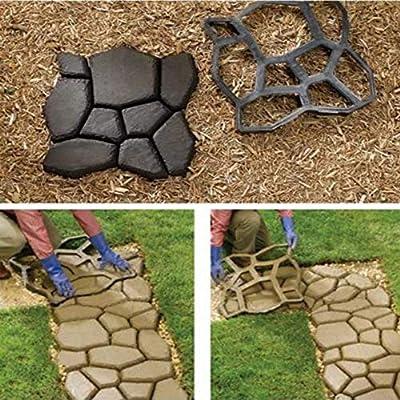 Adoquín de concreto Molde de jardín, 9 Rejilla Molde de adoquín de ladrillo macizo Pathmate Path Maker Molde de losa para jardín Camino de camino de entrada Patio, 50 x 50 x