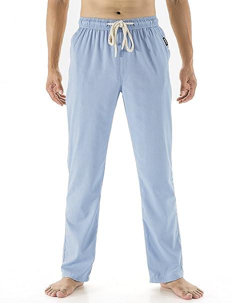 Gopune Mens Casual Beach Trousers Elastic Yoga Linen Summer Pants