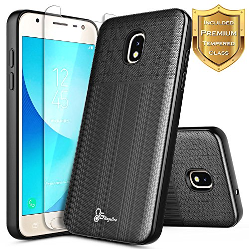 Galaxy J7 Refine Case, Galaxy J7 V 2nd Gen, Galaxy J7 Star w/[Tempered Glass Screen Protector] NageBee [Brushed] [Heavy Duty] Shock Proof [Dual Layer] Case For Samsung Galaxy J7 2018 (J737) -Black (Case Black Universal Stars Carrying)