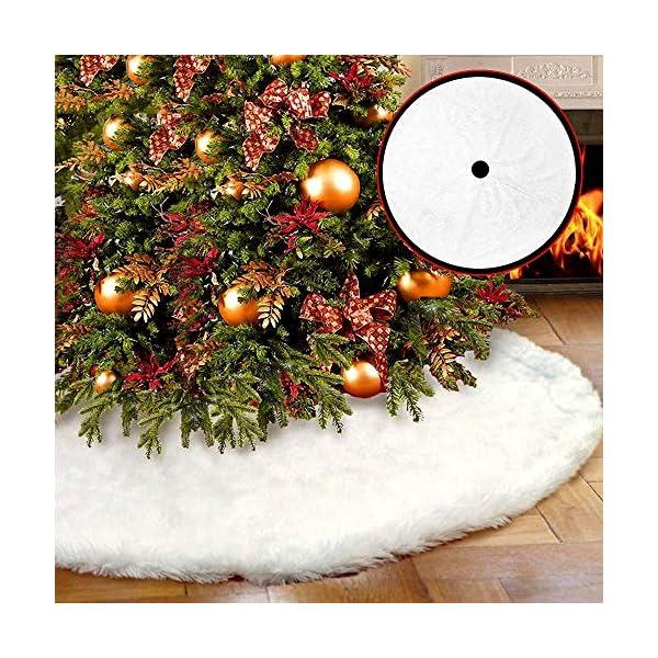 WELLXUNK Tappeto Albero di Natale,Gonna Albero di Natale,Tappetino per Albero di Natale per Albero di Natale Decorazione Capodanno casa Festa Forniture (90 cm) 4 spesavip