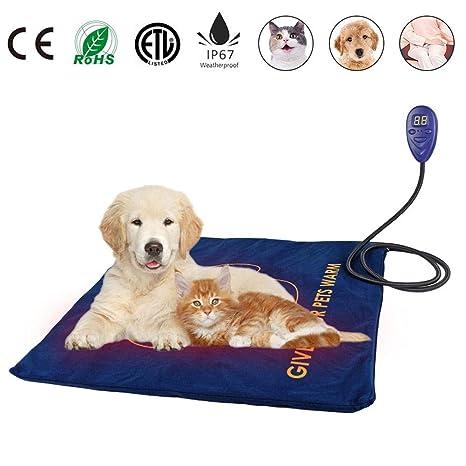 LLDHWX Almohadilla térmica para Mascotas, Perro Gato Cama Caliente Cubierta de 7 Niveles de Temperatura