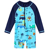 Baby Boys Swimsuit 0ne Piece Toddlers Swimsuit Swimwear with Hat Sunsuit UPF 50+