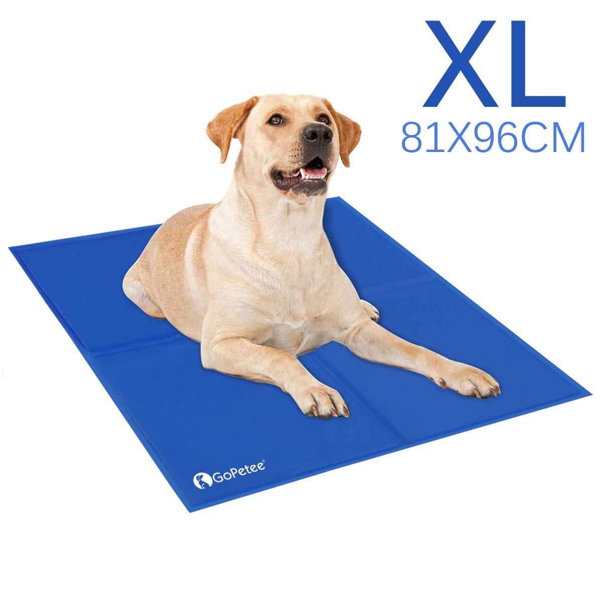 GoPetee Alfombrilla de Refrigeración para Mascotas Cama de Perro y Gato para Verano Animales Manta de Dormir Fresco Cojín (XL 96 x 81 cm, Azul)