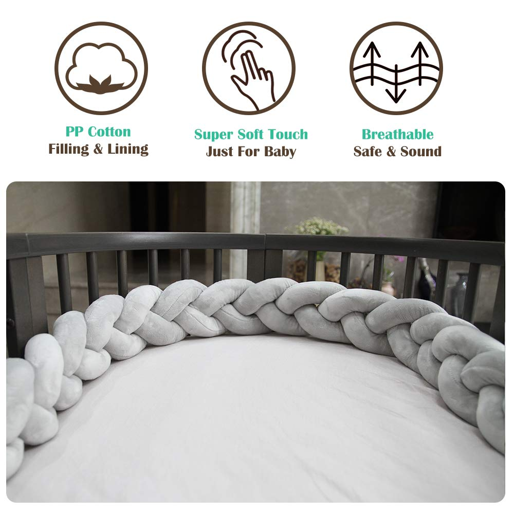 Fashion Nursery Cradle Decor for Baby Toddler and Childern Braided Baby Crib Bumper Wonder Space Soft Knot Plush Pillow Grey, 118IN // 3M