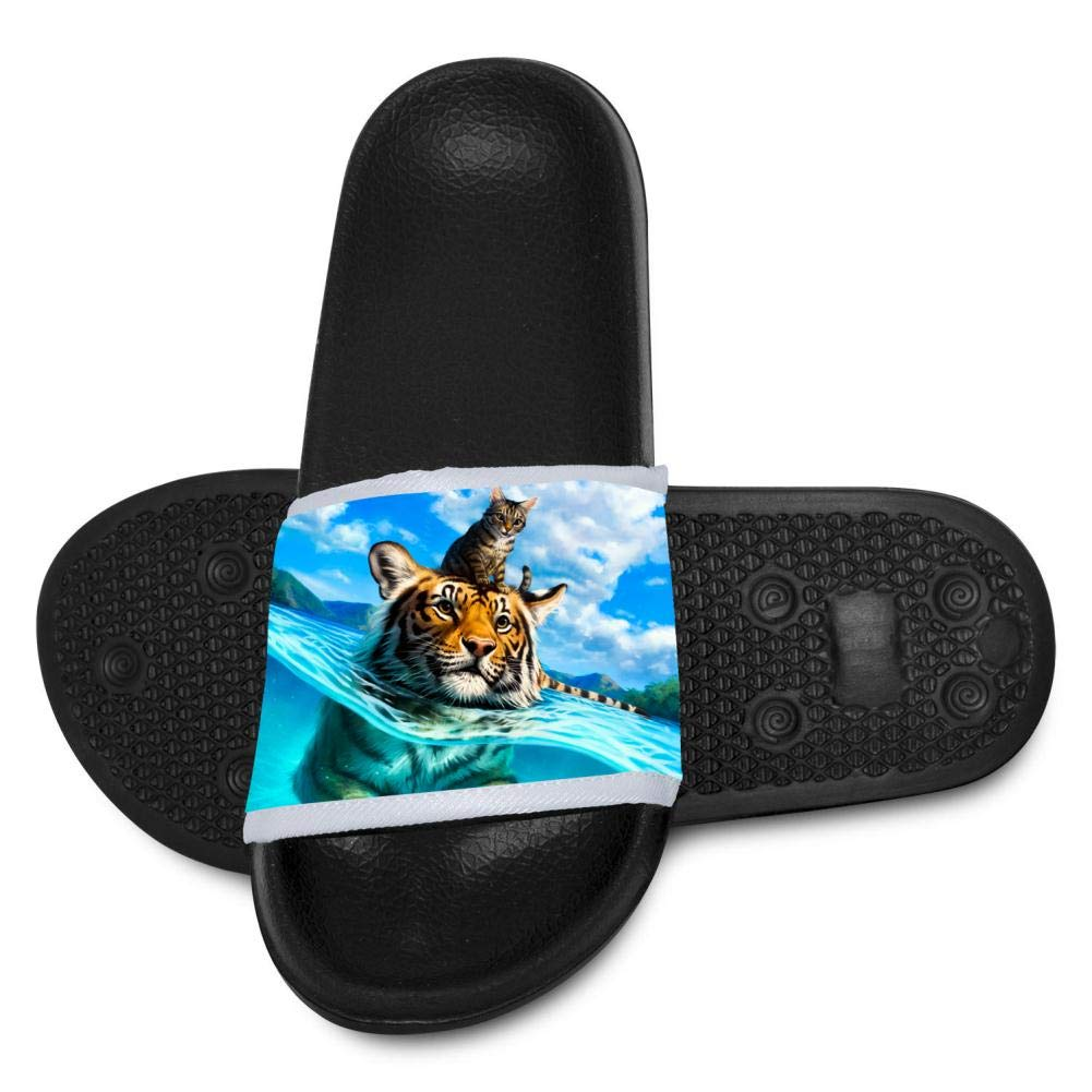 Gujigur Fantasy Swimming Tiger with Cat Slippers for Boy Girl Casual Sandals Shoes Creative 3D Printed Graphic Hipster Design