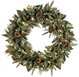 Northlight Seasonal 21294566 24 in. Pre-Lit Green River Spruce Artificial Christmas Wreath - Clear Lights