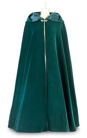 Green Velvet Cloak with Hood and Green Satin Lining (Medium - Large) - Made 9ebf09322