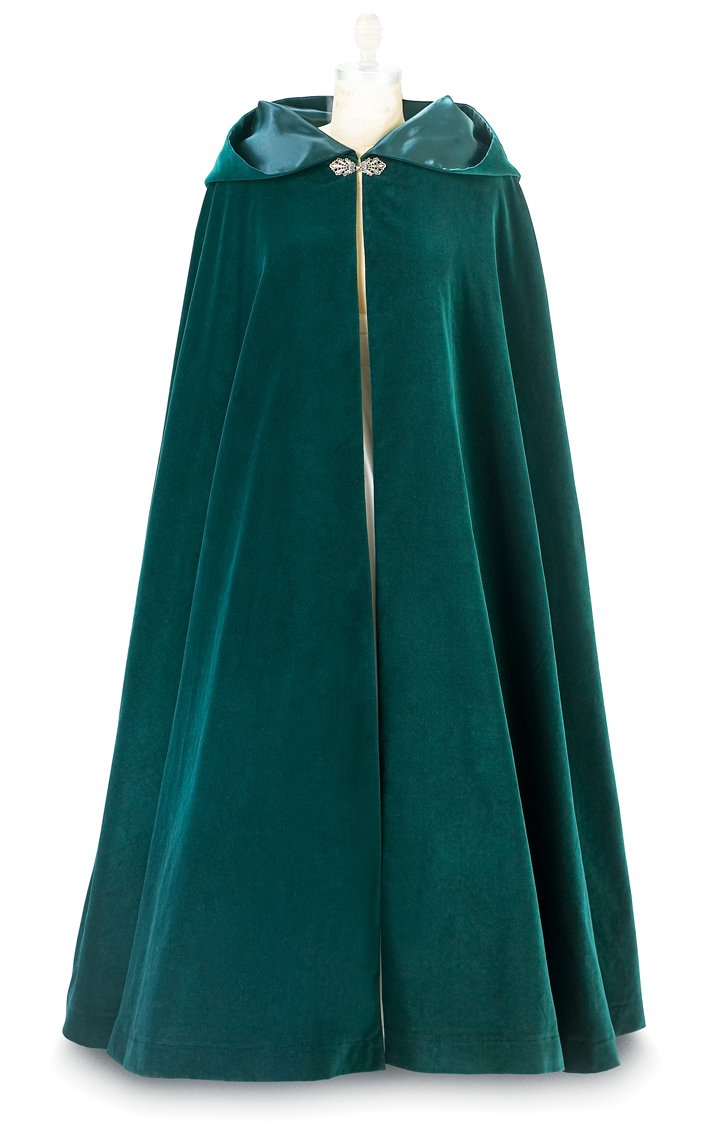 Christmas Green Velvet Cloak with Hood and Green Satin Lining (X-Large)