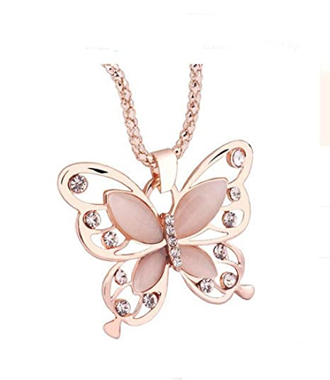 Mingfa Long Sweater Chain Angel Wings Butterfly Crystal Pendant Necklace Charm Statement Jewelry for Women Girls Black