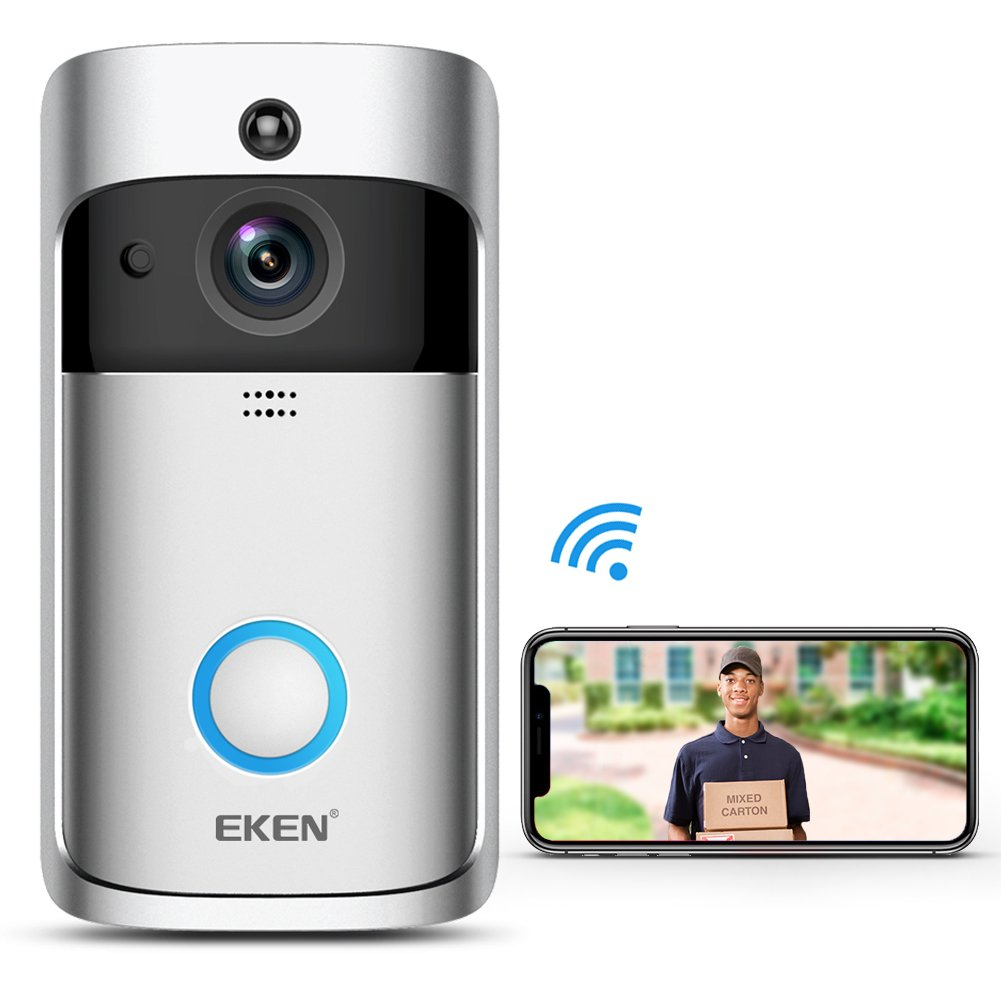 EKEN New Video Doorbell 2 720P HD Wifi Camera Real-Time Video Two-Way Audio Wide-angle Lens Night Vision PIR Motion Detection App Control for IOS and Android with FREE Built-in 8GB Card