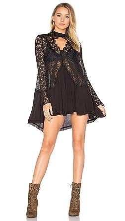 e68bf64cbe1ea Free People New Tell Tale Black Lace Tunic Dress Mock Neck Keyhole V ...