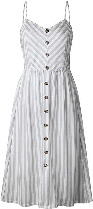 Vestido YONGYONGCHONG algodón y Lino de Verano para Mujer Rayas ...