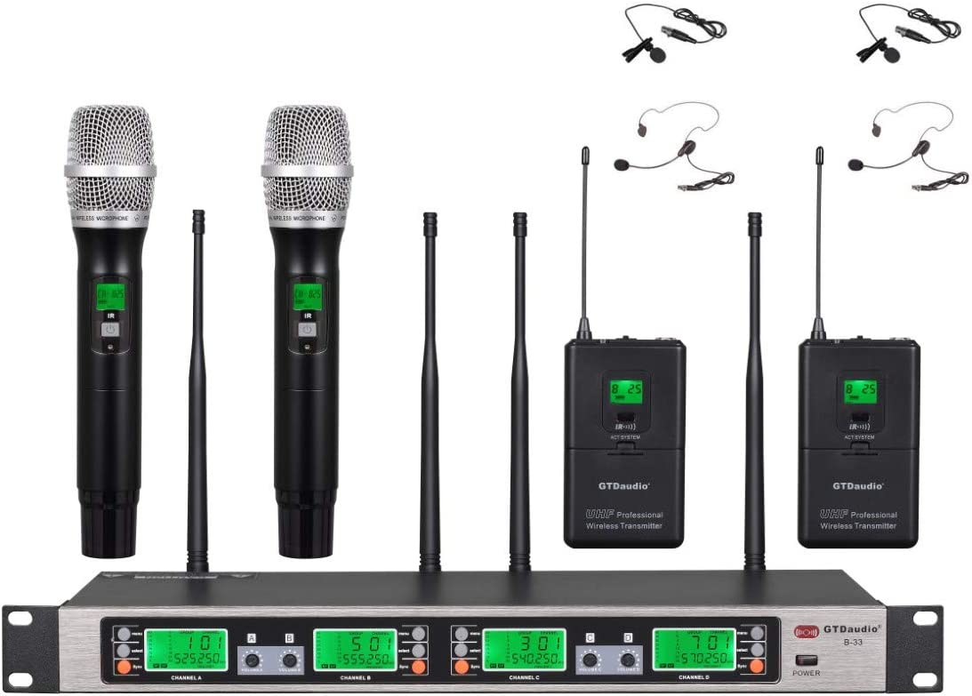 GTD Audio UHF 4 x100 Selectable Frequency Channels 2 Hand-held Wireless 2 Lavalier Lapel Headset microphone 4 Mic System