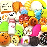 Trasfit 10 Pieces Random Squishy Charms Kawaii Soft Foods Jumbo Squishies Cake/Panda/Bread/Buns Phone Charm Key Chain Strap