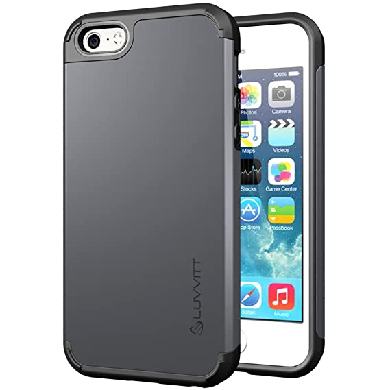 best website 1acf7 dcef9 iPhone SE Case, LUVVITT [Ultra Armor] Shock Absorbing Case Best Heavy Duty  Dual Layer Tough Cover for Apple iPhone SE Special Edition - Gunmetal