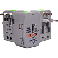 Bulfyss Universal Travel Adapter with Built in Dual USB Charger Ports Surge/Spike Protected Electrical Plug with 125V 6A, 250V (Grey) - Made in India
