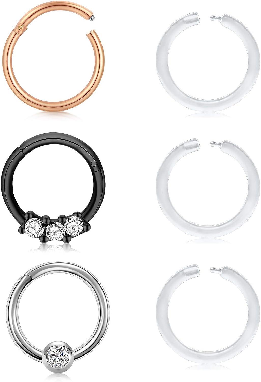 MODRSA 16G Hinged Nose Rings Hoop Stainless Steel Cartilage Helix Daith Tragus Earrings Hoop Clicker Segment Lip Septum Rings Piercing 8mm 10mm