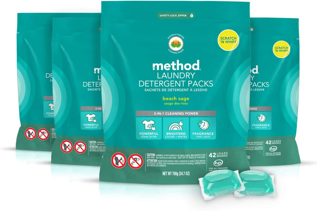 Method Laundry Detergent Packs, Beach Sage, 24.7 Ounce (Pack of 4)