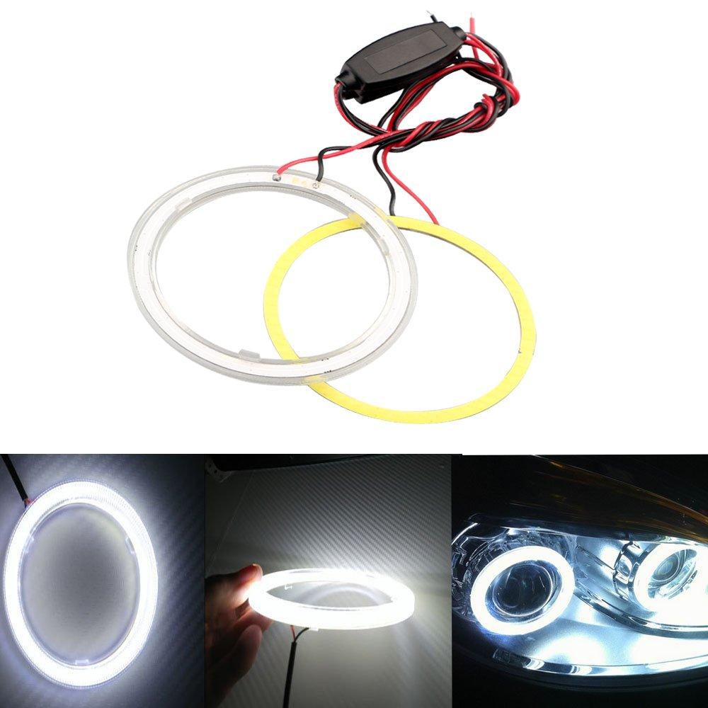Grandview 1 paio (2 pezzi) 70 mm 60SMD COB LED lampadina fari Angel Eyes Halo Anello Lampada con il riflettore, corrente costante, 9 ¨ C 30 V (Bianco-60MM) 9 šC 30 V (Bianco-60MM)