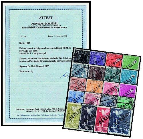 Goldhahn Berlin Schwarzufdruck Gestempelt mit Fotoattest Briefmarken für Sammler