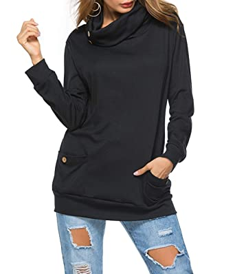 575f34c6134e Lovelyduo Women s Cowl Neck Hoodie Long Sleeve Pullover Sweatshirt Pockets  Black S