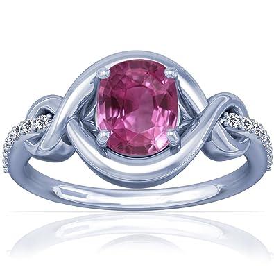 Amazon Com Platinum Cushion Cut Pink Sapphire Ring With Sidestones