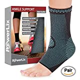 PowerLix Ankle Brace Compression Support Sleeve (Pair) Injury Recovery, Joint Pain More. Plantar Fasciitis Foot Socks Arch Support, Eases Swelling, Heel Spurs, Achilles Tendon