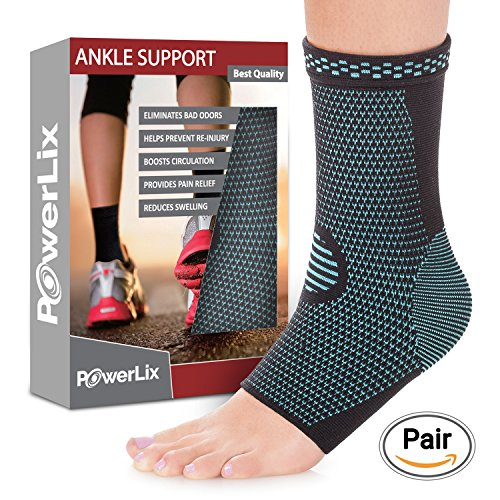 Achilles Tendonitis Brace (PowerLix Ankle Brace Compression Support Sleeve for Injury Recovery, Joint Pain and more. Plantar Fasciitis Foot Socks with Arch Support, Eases Swelling, Heel Spurs, Achilles tendon)
