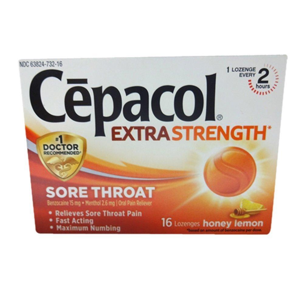 Cepacol Maximum Strength Throat Drop Lozenges, Honey Lemon, 16 Count (Pack  of 6)