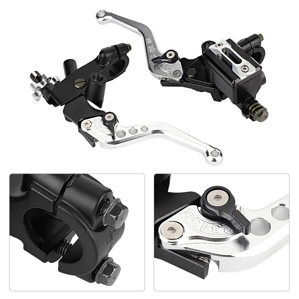 Keenso 1 Pair Adjustable Break and Clutch Levers Blue 7//8 inch Universal Motorcycle Brake Clutch Master Cylinder Reservoir Levers