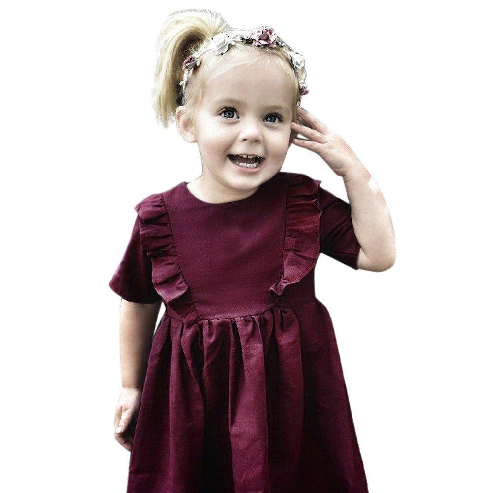 SamMoSon Chlidren Dress Kids Toddler Infant Baby Girls Solid Ruffle Bowknot Princess Dresses Outfits
